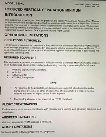 Savant Aero Aircraft RVSM Requirements For International