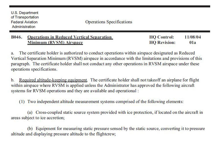 rvsm requirements rh savantaero com Survival Manual Alice Pack Manual